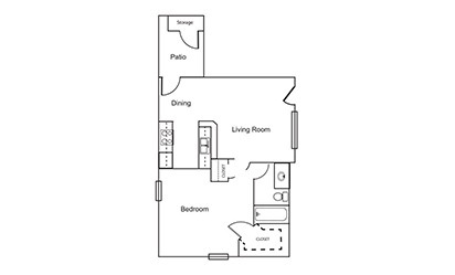 A1 - 1 bedroom floorplan layout with 1 bath and 661 square feet