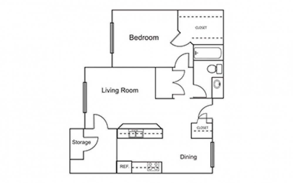 A3 - 1 bedroom floorplan layout with 1 bath and 687 square feet (1st floor 2D)