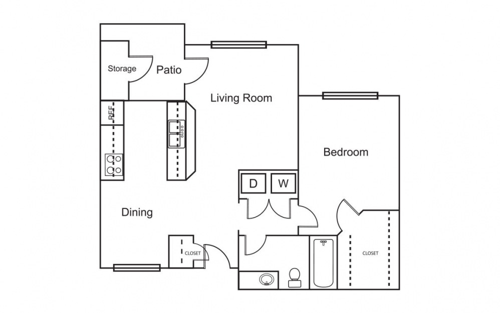 A4 - 1 bedroom floorplan layout with 1 bath and 692 square feet (1st floor 2D)