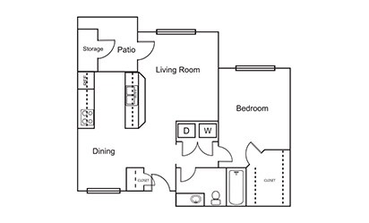 A4 - 1 bedroom floorplan layout with 1 bath and 692 square feet