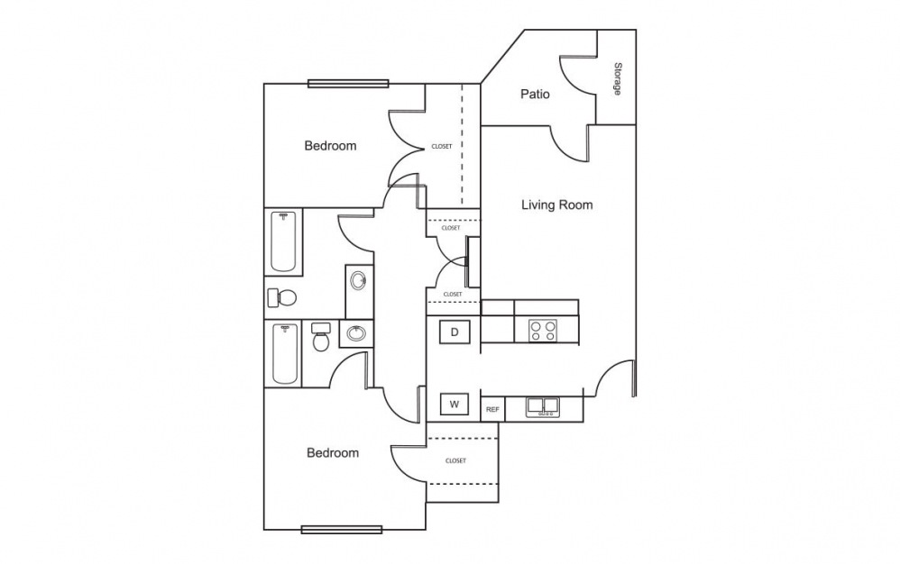 B1 - 2 bedroom floorplan layout with 2 bath and 887 square feet (1st floor 2D)