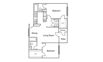 B2 - 2 bedroom floorplan layout with 2 bath and 940 square feet