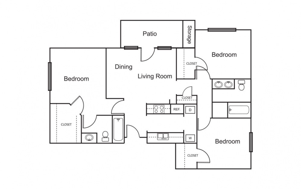 C1 - 3 bedroom floorplan layout with 2 bath and 1127 square feet (1st floor 2D)