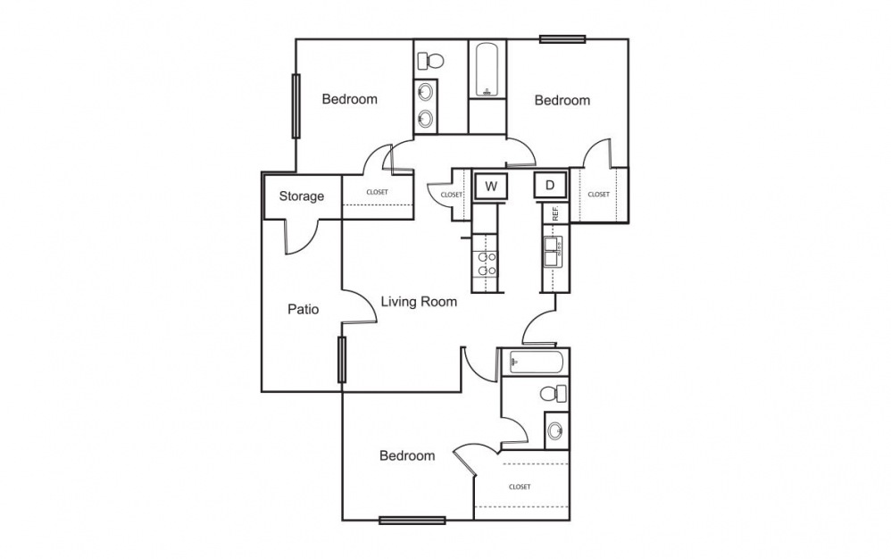 C2 - 3 bedroom floorplan layout with 2 bath and 1136 square feet (1st floor 2D)
