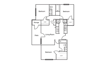 C2 - 3 bedroom floorplan layout with 2 bath and 1136 square feet